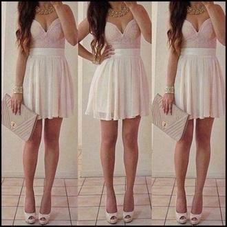 dress light pink dress white skirt bustier dress party dress party oufit