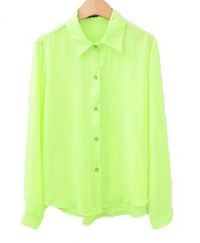 Street Style Chiffon Shirt in Neon