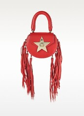 bag,salar,shoulder bag,leather bag,red leather,tassel