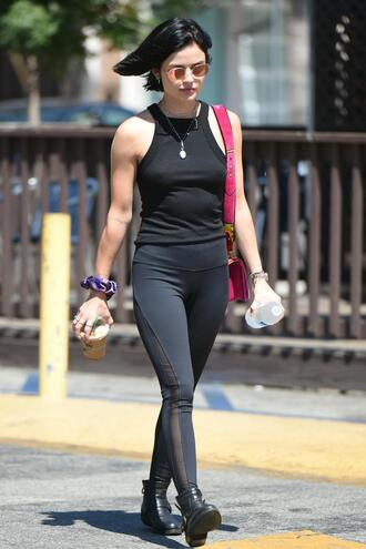 top all black everything leggings streetstyle lucy hale ankle boots tank top