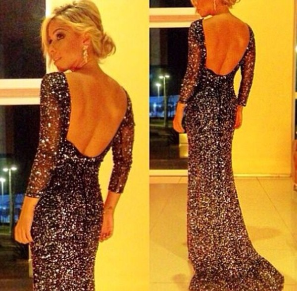 dress sparkly dress long evening dress backless backless prom dress