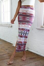 pink skirt,pink print,pink maxi skirt,print maxi skirt,side front split maxi,www.ustrendy.com,skirt