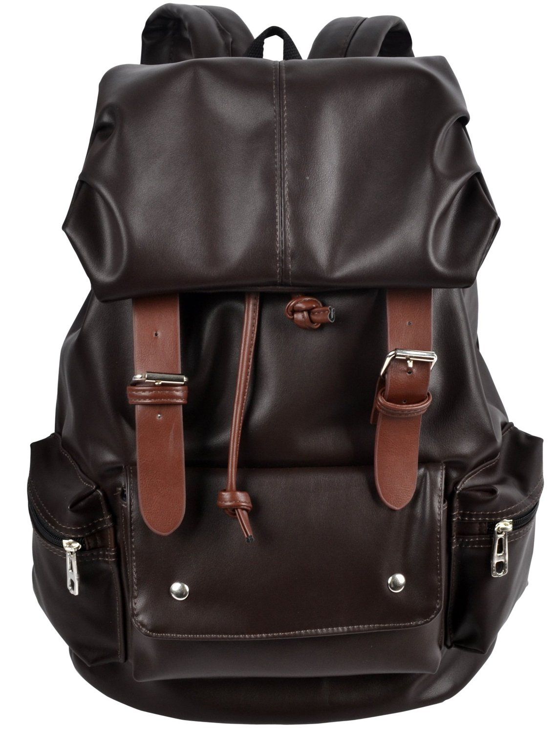 Amazon.com: Hynes Eagle Unisex's Synthetic Soft Leather School Backpack Cool Travel Bags Brown: Clothing