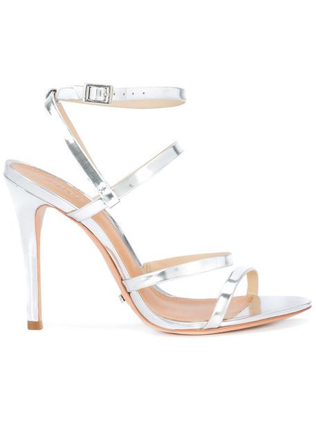 Schutz women sandals leather grey metallic shoes