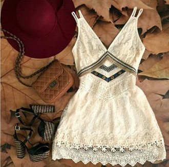 dress white dress vintage vintage dress lace lace dress cream white cream dress chevron strappy style cute dress short dress homecoming dress prom dress fashion flowers