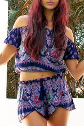 top,blue,summer,fashion,style,off the shoulder,two-piece
