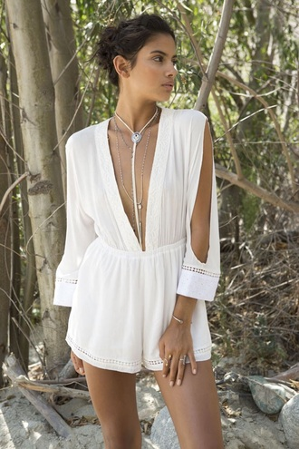 romper white long sleeves summer fashion style trendy sexy spring free vibrationz