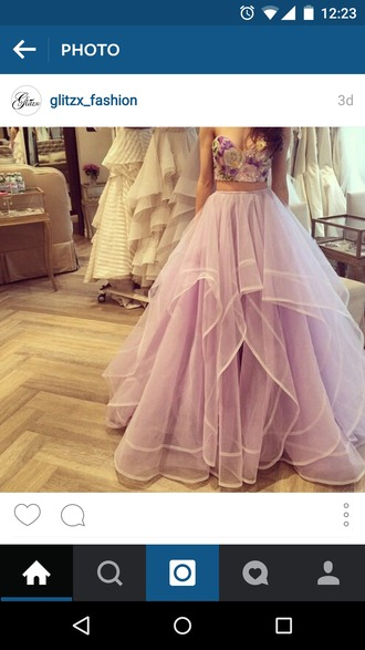 dress purple dress vintage flower prom dress prom dress two piece dress set