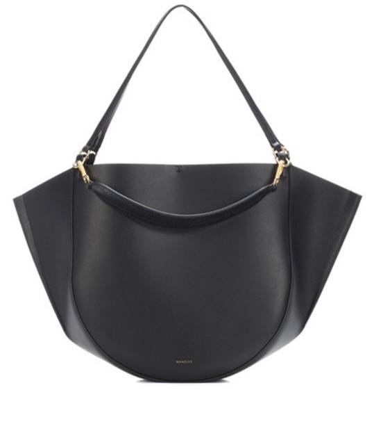 Wandler Mia leather shoulder bag in black