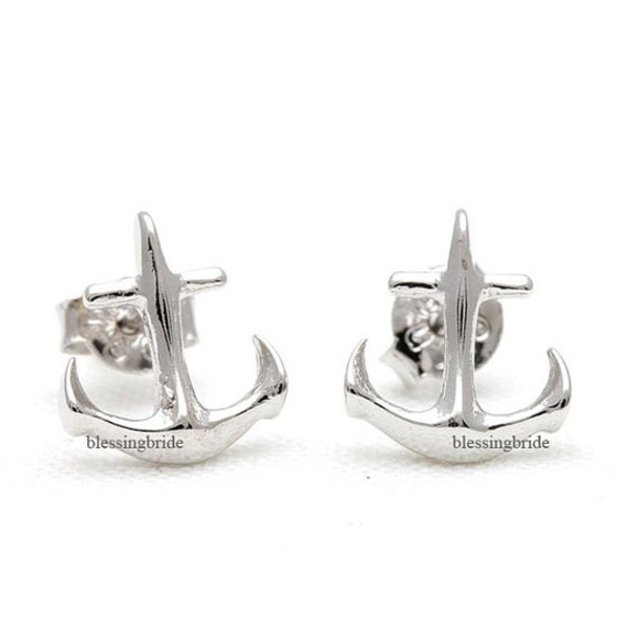 anchor jewels beach jewelry summer jewelry anchor earrings anchor studs cool earrings simple earrings tiny earrings