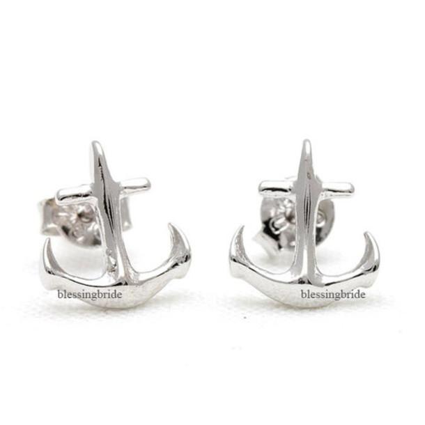 jewels jewelry anchor anchor earrings anchor studs cool earrings beach summer jewelry simple earrings tiny earrings