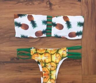 swimwear girly girl girly wishlist two-piece swimwear two piece bikini bikini top bikini bottoms pineapple print pineapple pineapple swimsuit pineapple bikini fashion summer beach trendy boogzel