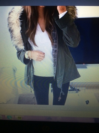 jacket hood parkas fur military green fur jacket