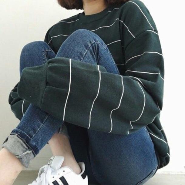 sweater green khaki striped top grunge