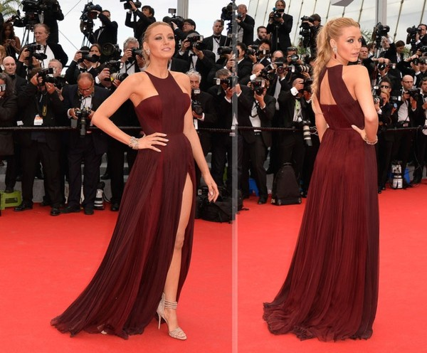 dress blake lively red dress prom dress gucci cannes festival cannes france fashion whine red blood red burgundy dress red carpet dress cannes 2014 two slit dress blake lively slit prom dress blake lively dresses