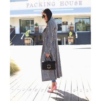 coat tumblr checkered printed coat long coat pumps high heel pumps pink shoes bag black bag sunglasses