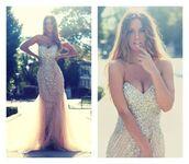 dress,prom dress,corset,sweetheart,nude,long dress,prom,beaded,tulle skirt,strapless