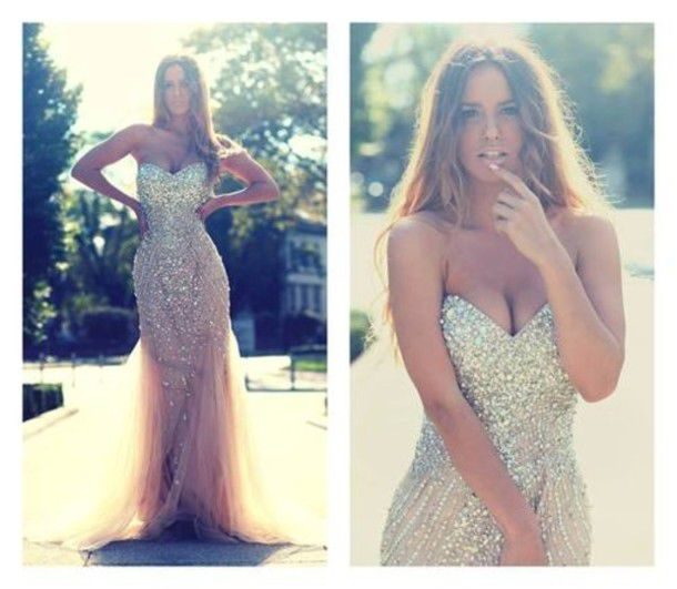 dress prom dress corset sweetheart nude long dress prom beaded tulle skirt strapless gold gorgeous sparkly dress annemerel blogger