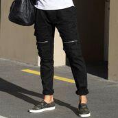 pants,maniere de voir,cargo pants,pockets,zipped,black,jeans