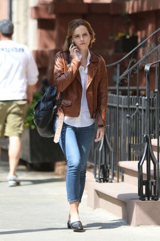jacket biker jacket brown emma watson flats shirt blouse cropped jeans white blouse black backpack