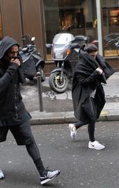 black coat,black jacket,kim kardashian,kanye west,all black everything,nike running shoes,nike sneakers,nike shoes,shoes,coat