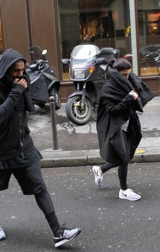 black coat black jacket kim kardashian kanye west all black everything nike running shoes nike sneakers nike shoes shoes