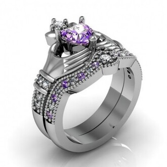 jewels claddagh ring heart amethyst claddagh ring / engagement ring set - 18k platinum plated sterling silver evolees.com amethyst claddagh ring set sterling silver claddagh ring set heart shaped amethyst ring set purple diamond claddagh ring set