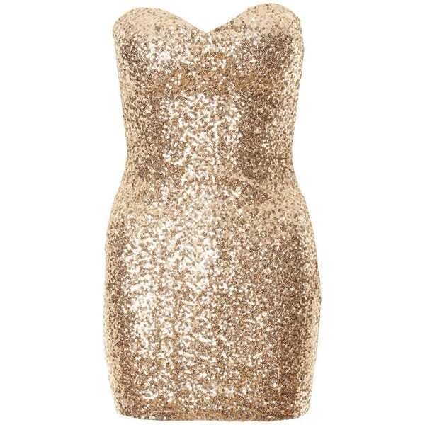 Gold All Over Sequin Embellished Boob Tube Dress
