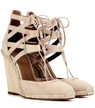 sandals wedge sandals suede beige shoes