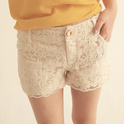 Hight Qualtiy Drop Shopping 2013 women's Sweet Cute Crochet Tiered Lace Shorts plus size Short Pants white and Beige-in Shorts from Apparel & Accessories on Aliexpress.com