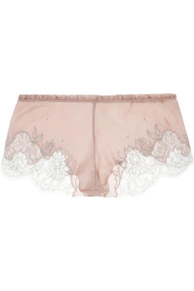 Carine Gilson|Lace-trimmed stretch-silk mousseline shorts|NET-A-PORTER.COM