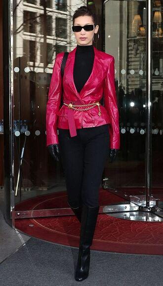 jeans black jeans streetstyle fashion week paris fashion week 2018 bella hadid model off-duty turtleneck top blazer shoes