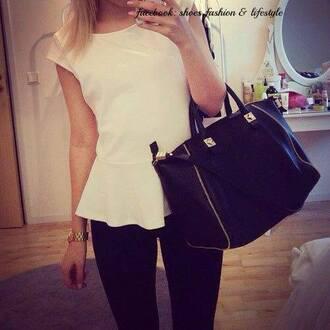 bag handbag black black bag girl white top classy chic big bag large bag style women party shirt blouse