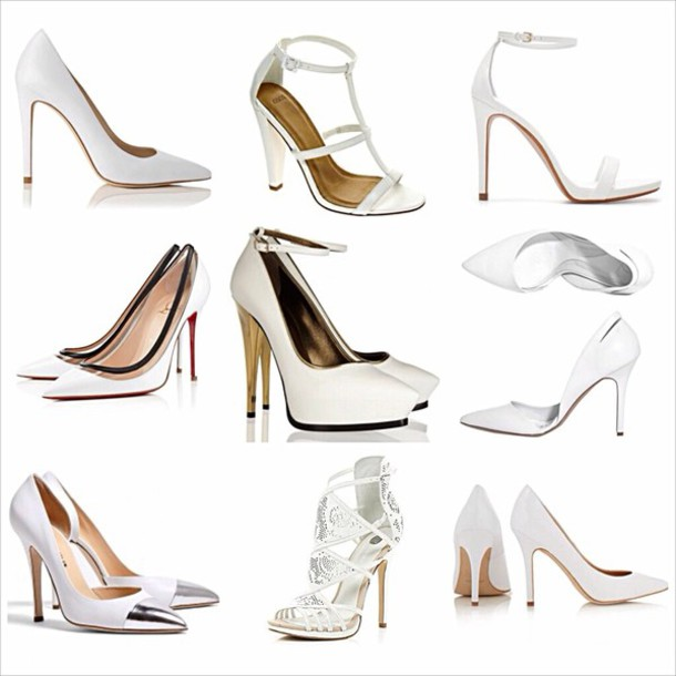official store new york huge discount shoes, white shoes, pointed toe heels, ankle strap, court heels ...