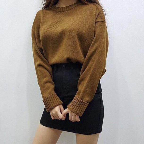 Sweater tumblr yellow mustard sweater mustard skirt brown sweater - Wheretoget