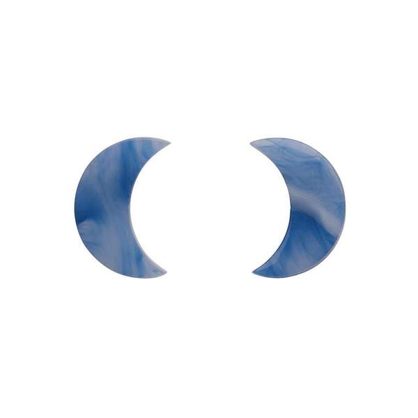 Crescent Moon Marble Resin Stud Earrings - Blue
