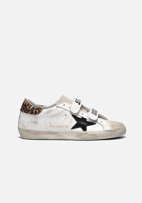 Old School Sneakers White/Leopard Pony