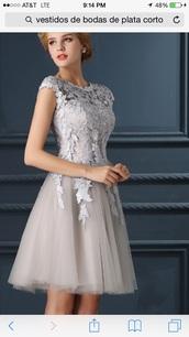 dress,short silver,homecoming dress,grey dress,lace dress