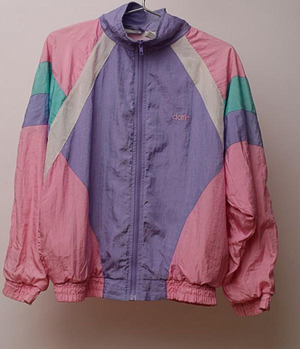 jacket purple pink blue windbreaker white vintage pink windbreaker retro