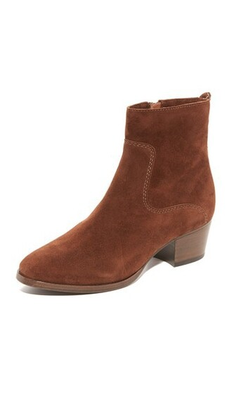 short zip booties brown shoes