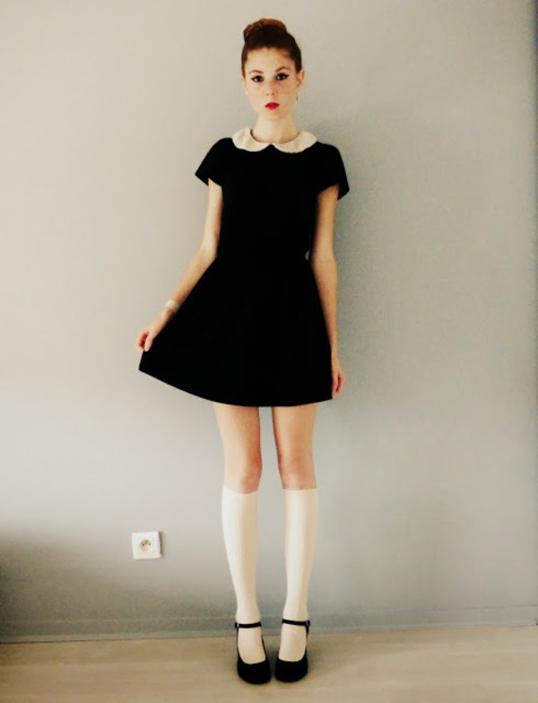 dress black peter pan collar preppy little black dress black dress