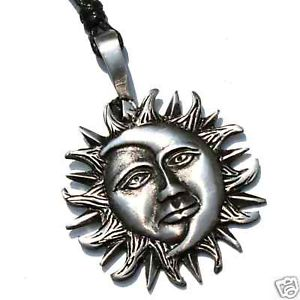 21e sun face moon silver pewter solar pendant necklace