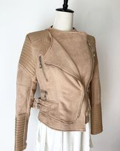 jacket,ivory and chain,nude,biker jacket,leather jacket,winter jacket,suede,suede jacket,36683,winter outfits,nude jacket,casual