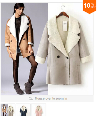 wool coat jacket kahki beige long double breasted turn down collar shearling