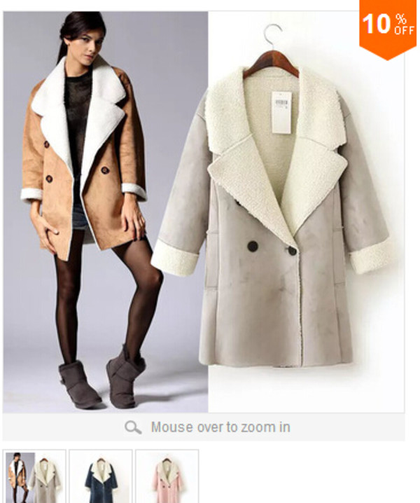 wool coat jacket kahki beige long double breasted turn down collar shearling