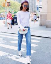 jeans,straight jeans,high waisted jeans,knit,blouse,white boots,high heels boots,sunglasses,belt bag