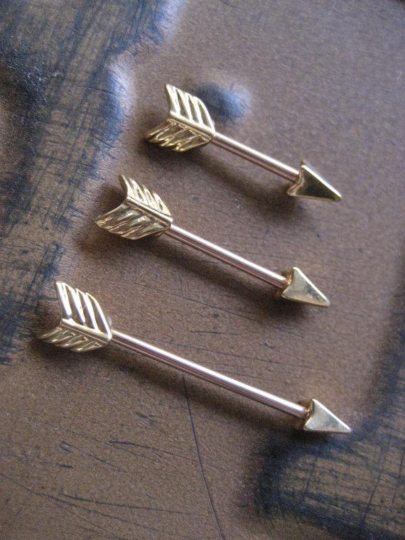 14 gauge gold arrow orbital outer conch piercing nipple bar barbell earring 14g 14 g ear gauge arrowhead head