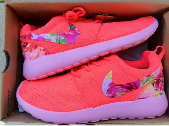 shoes nike cute nike roshe run flower shoes