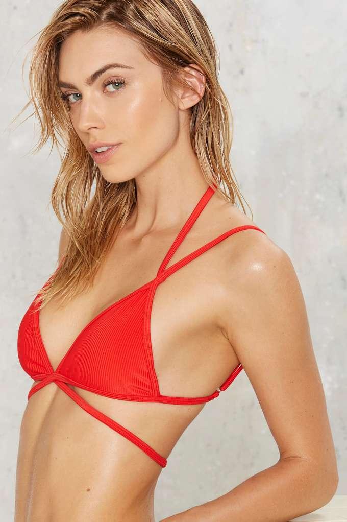 32d9e34b6b Nasty Gal Alina Mix   Match Strappy Bikini Top - Red