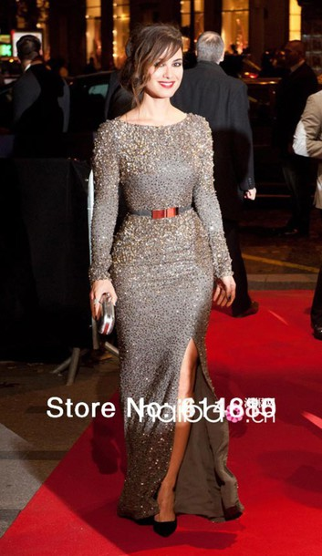 dress red carpet celebrity style evening with long sleeves